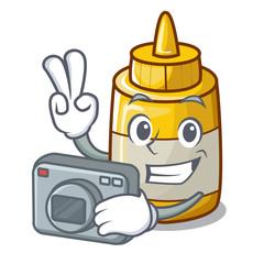 Photographer yellow mustard in plastic bottle cartoon