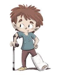 niño con la pierna rota y muleta