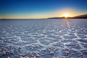 Salar de Uyuni (Uyuni salt flats) at sunset, Potosi, Bolivia, South America