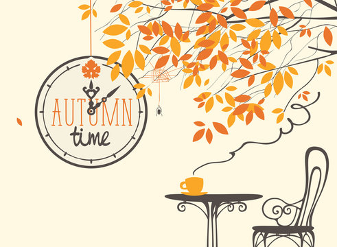 Vector landscape in retro style on the fall theme with the words autumn time on the clock, with a Cup of hot drink on the table in a street cafe under the autumn tree.