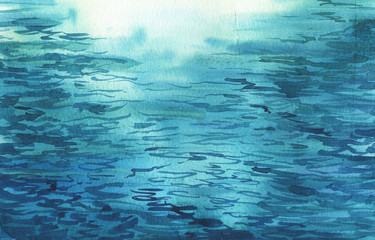 Sea or ocean water background painted by watercolor. Hand drawn illustration.