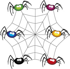 Halloween vector set illustration of funny colored spiders sitti