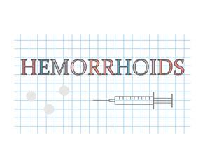 hemorrhoids word on checkered paper sheet- vector illustration