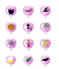 Halloween or magic icons isolated. Clip art.