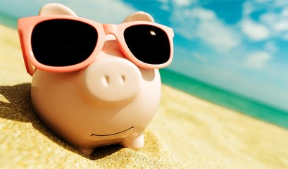 Piggy Bank Wearing Sunglasses Relaxing At The