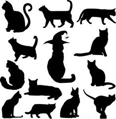 Set of black cats silhouettes isolated on white background. Vect