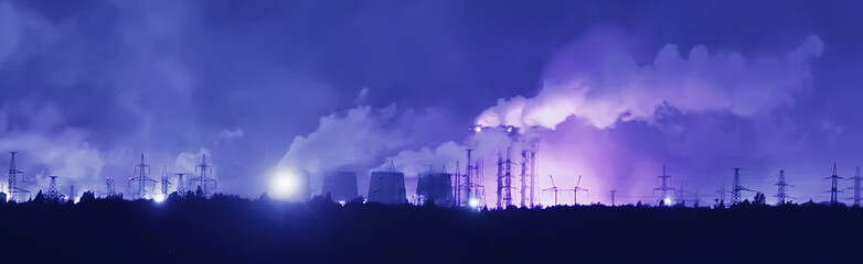Fotorolgordijn Donkerblauw landscape night smoke pipe industry / factory landscape horizontal, concept pollution, smoke, ecology