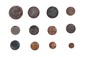 Old coins of Russian empire collection isolated on white background.