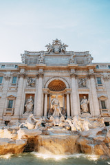 The Trevi fountain in Rome, a beautiful sight. Ancient architecture and sculpture. Art on the street, the most beautiful fountain in Europe