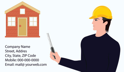 A builder with a key in his hand, a house, company requisites - an art vector. Concept Design Construction