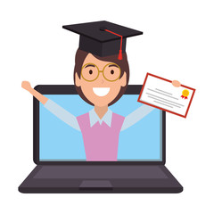 laptop with woman student and graduation diploma