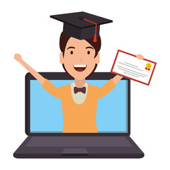 laptop with man student and graduation diploma