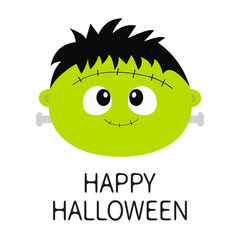 Happy Halloween. Frankenstein Zombie monster round face icon. Cute cartoon funny spooky baby character. Green head. Greeting card. Flat design. White background. Isolated.