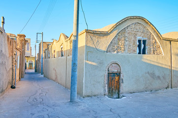 The adobe houses in old Kashan, Iran