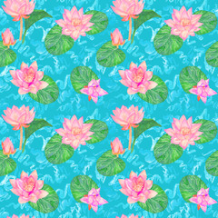 Lotus pink flowers and leaves and curly water waves, seamless  pattern design, hand painted watercolor on bright blue background, top view