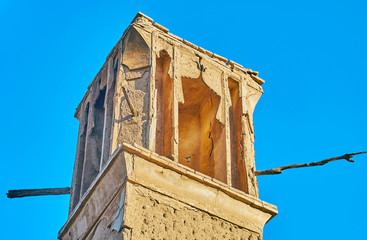 The shabby windcatcher in old Kashan, Iran