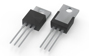 Isolated TO-220 MOSFET electronic package 3d illustration