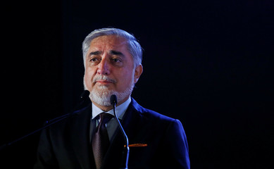 Chief Executive of the Islamic Republic of Afghanistan Abdullah Abdullah speaks at the India-Afghanistan international trade and investment show, in Mumbai