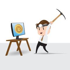 Businessman character mining bitcoins in computer screen, Vector illustration