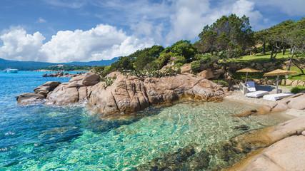 Wall Mural - Little beach of Emerald coast, near Spiaggia Capriccioli, east Sardinia island, Italy
