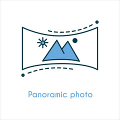 Panoramic photo flat line icon