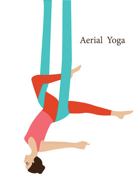Aerial yoga - woman on a hammock - isolated on white background - art vector. Fitness concept