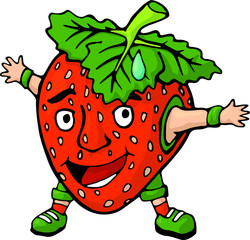 Funny smiling cartoon character strawberry on white background