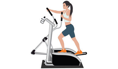 Woman on a stepper simulator - flat style - isolated on white background - art vector
