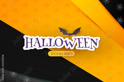 halloween party design template with flying bat paper art