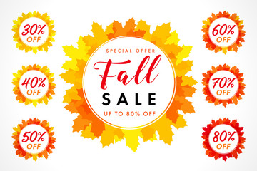 Bright coloured autumn sale digits with set of percent % off, buy just now in yellow maple leaves. Abstract isolated graphic label template. Decorating celebrating poster or fall price emblem