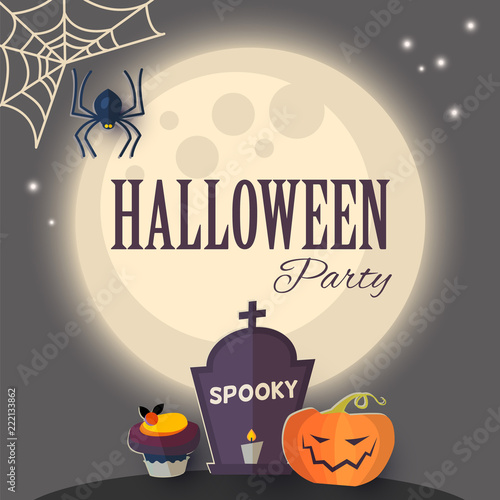 Halloween Party Design Template With Pumpkin Tombstone Spider Cobweb And Moon Light