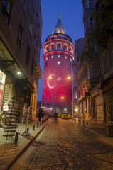 Galata Tower with Turkish Flag (Editorial)