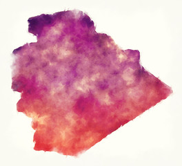 As-Suwayda governorate watercolor map of Syria in front of a white background
