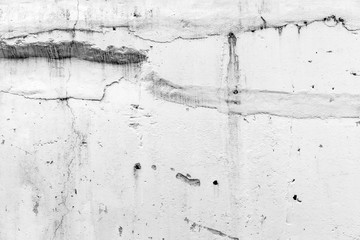 Fototapete - White concrete wall with damaged stucco
