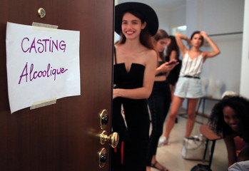 Alcoolique's models casting for the next women's collection in Milan