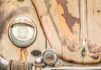 Wall Mural - headlamp and rusting vintage vehicle hood