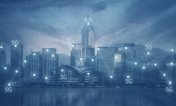 5G technology connecting activity in the modern city concept in blue tone.
