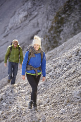 Austria, Innsbruck, Nordkette, climbers walking towards starting point