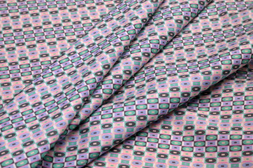 Cotton stretch fabric with geometric ornaments