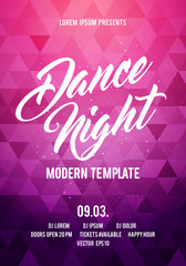 Vector illustration dance night party poster background template with colorful modern geometric shapes. Music event flyer or abstract banner