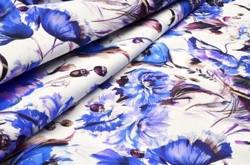 Cotton fabric with floral ornament on white