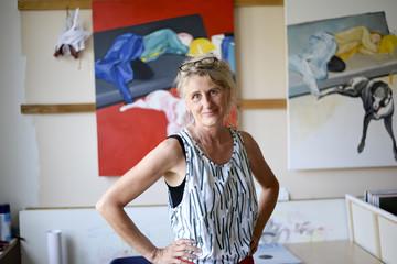 Female painter in her atelier, portrait