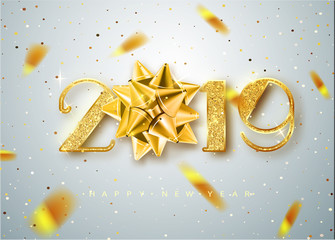 2019 Happy new year. Gold Numbers Design of greeting card of Falling Shiny Confetti. Gold Shining Pattern. Happy New Year Banner with 2019 Numbers on Bright Background. Vector illustration