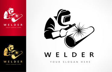 Welder welds a pipe in welding mask logo vector