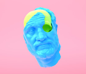 Avatar. Face. Man's with blue head with lime green skull. Beauty concept, pastel colors fashion background. 3d rendering.
