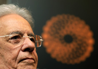 Brazil's former President Cardoso gestures as he attends an interview with Reuters in Sao Paulo