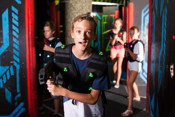 Boy during lasertag game
