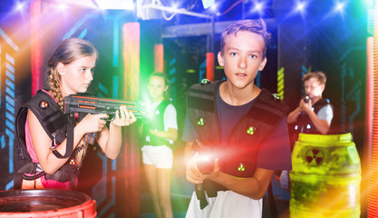 Boy during lasertag game