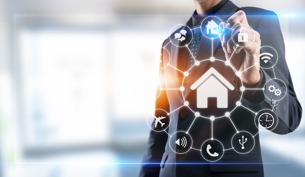 Smart home control,Lifestyle of person in modern life internet of things, Smart house technology.The new innovation of the Future.