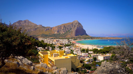 Wall Mural - Beautiful panorama of san vito lo capo. Sicily coastline view.
